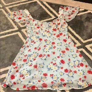 Light blue floral summer mini dress